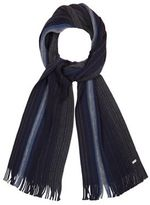 J By Jasper Conran Navy Wool Striped Knit Scarf