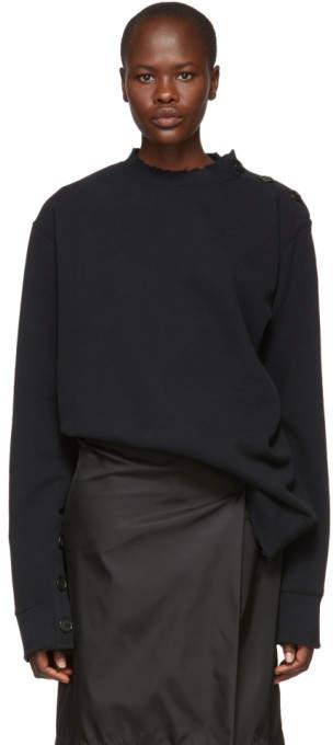 Ann Demeulemeester Black Destroyed Button Sweater