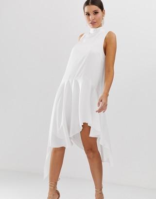 Asos Design DESIGN sleeveless scarf neck satin mini dress with extreme sleeve-White