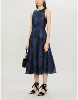 Ted Baker Wylieh sleeveless floral jacquard-pattern satin midi dress