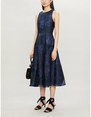 Ted Baker Wylieh sleeveless floral jacquard-pattern satin midi dress