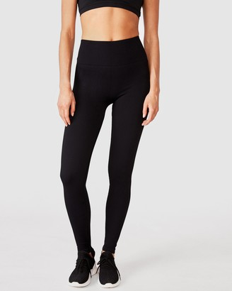 Cotton On Body Active - Women's Black Tights - Lifestyle Rib Seamless Tights - Size XS at The Iconic