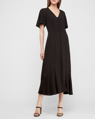 Express Button Front Midi Dress