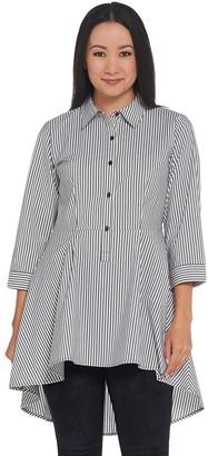 Joan Rivers Classics Collection Joan Rivers Petite Length Striped Peplum Shirt with Hi-Low Hem