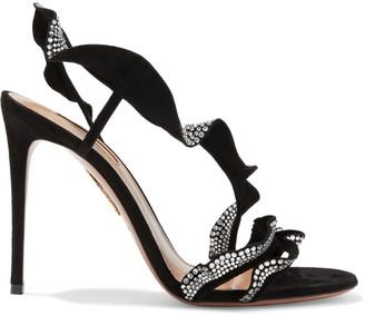 Aquazzura 105 Ruffled Crystal-embellished Suede Slingback Sandals