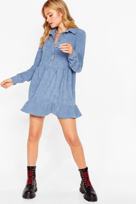 Nasty Gal Womens Be There in a Mini Petite Corduroy Dress - Denim-Blue
