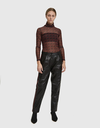 Just Female Women's Shape Contrast Leather Trouser in Black, Size Small
