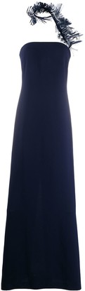 Ralph Lauren ruffled trim strapless dress