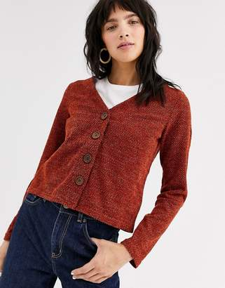 Only Alba long sleeve button up cardigan-Red