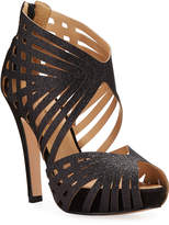 PeepToe Bruno Menegatti Cindel Glittered Art Deco Peep-Toe Sandals