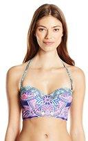 Jessica Simpson Women's Mojave Lace Back Underwire Bralette with Foam Cups Bikini Top