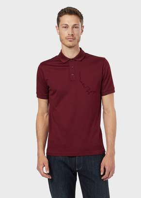 Giorgio Armani Micro Pique Polo Shirt With Mr ArmaniS Profile In A Flocked Print