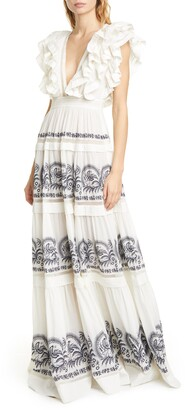 Ulla Johnson Marjorie Ruffle Embroidered Tier Cotton Maxi Dress