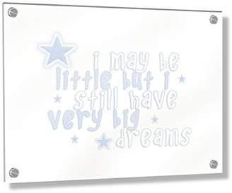 Camilla And Marc Feel Good Art Wall Mounted Acrylic Frame with Stand-Off Bolts (30 x 20 x 0.6 cm, Small, Baby Blue, I May be Little but I Have Very Big Dreams/Nursery Dècor)