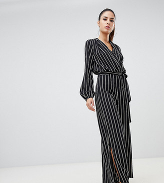 Parallel Lines pinstripe jumpsuit with split legs and tie waist