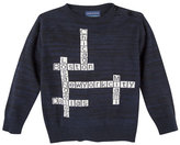 Andy & Evan Childrenswear Crossword Puzzle Pullover Sweater, Blue, Size 2T-7Y