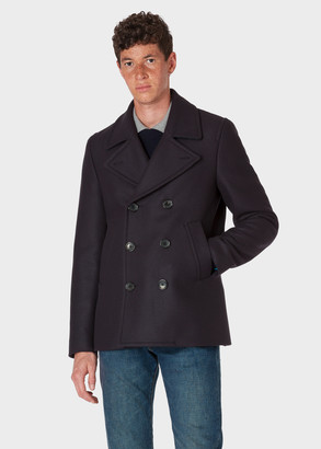 Paul Smith Men's Dark Navy Wool And Cashmere-Blend Pea Coat