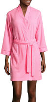 Jasmine Rose 3/4-Sleeve Houndstooth Knit Robe