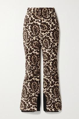 Fendi Printed Velvet Bootcut Ski Pants - Beige