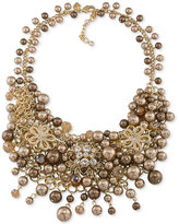 Carolee Gold-Tone Crystal and Imitation Pearl Cluster Necklace