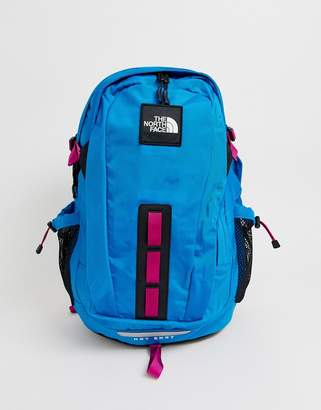 The North Face Hot Shot Seasonal backpack in blue/festival pink