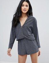 Endless Rose Knot Front Long Sleeve Playsuit