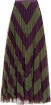 Mary Katrantzou Giselle pleated printed tulle maxi skirt