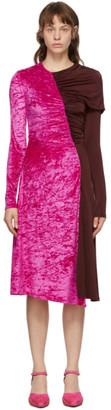 Marine Serre Pink and Burgundy Asymmetric Stretch Gathered Dress