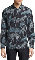 Salvatore Ferragamo Safari Animals Silk-Cotton Sport Shirt, Black