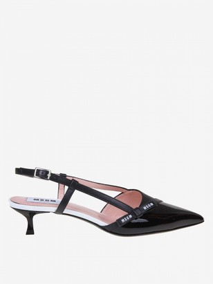 MSGM Sandal In Leather And Patent Leather With Bow And Logo
