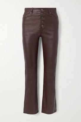 Joseph Den Cropped Leather Straight-leg Pants - Plum