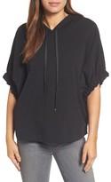 Bobeau Women's Gathered Sleeve Hoodie