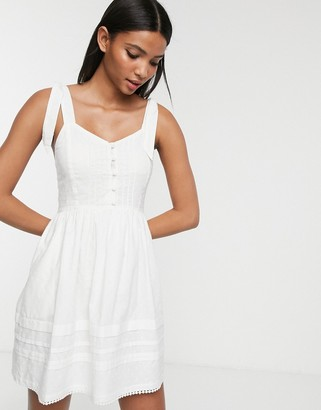 Accessorize button up beach midi dress in white