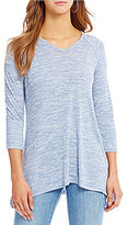 Jones New York Space-Dye Knit Jersey Stud Trim Tunic