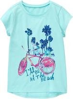 Gymboree Sky Blue 'I'll Be at the Beach' Bike Graphic Hi-Low Tee - Girls