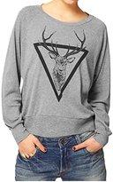 LUNIWEI Women Elk Printed Long Sleeve Shirt Blouse
