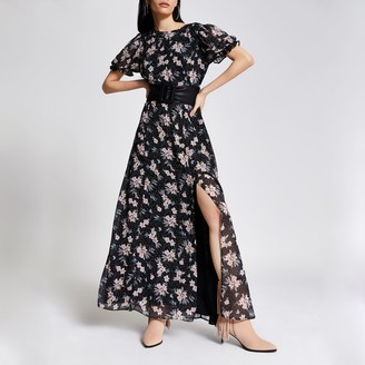 River Island Womens Black floral open back maxi dress