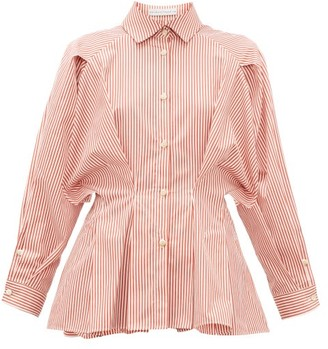 Palmer Harding Palmer//Harding Palmer//harding - Sunda Pleated Striped Cotton-poplin Shirt - Womens - Red White
