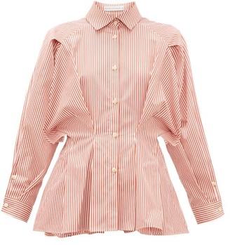 Palmer Harding Palmer//harding - Sunda Pleated Striped Cotton-poplin Shirt - Womens - Red White