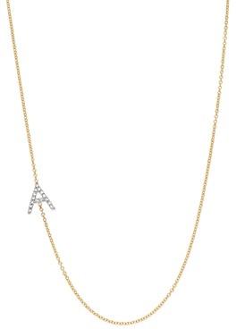 Zoe Lev 14K Yellow Gold Diamond Asymmetric Initial Necklace, 18