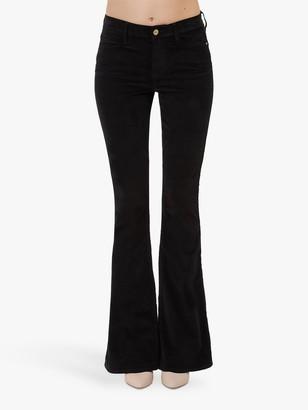Frame Le High Flare Velveteen Jeans, Noir