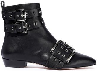 Red(V) Buckled Eyelet-embellished Leather Ankle Boots