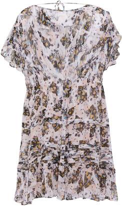 IRO Walnut Frayed Ruffle-trimmed Floral-print Crepon Mini Dress