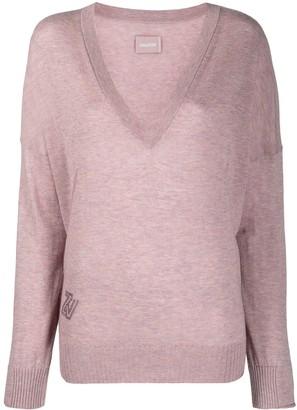 Zadig & Voltaire rhinestone logo V-neck pullover