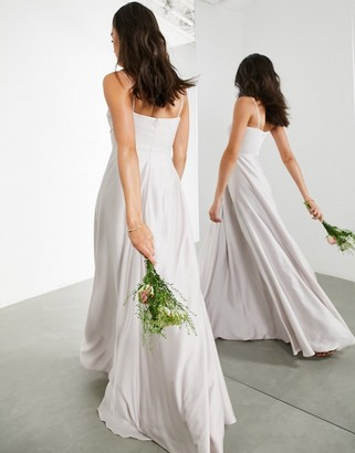 ASOS EDITION satin cami maxi dress with square neck in pale silver