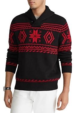 Polo Ralph Lauren Cotton Snowflake Regular Fit Shawl Collar Sweater