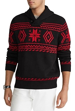 Polo Ralph Lauren Cotton Snowflake Shawl Collar Sweater