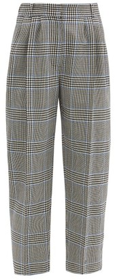 Alexander McQueen Cropped Prince Of Wales-check Wool Suit Trousers - Grey Multi