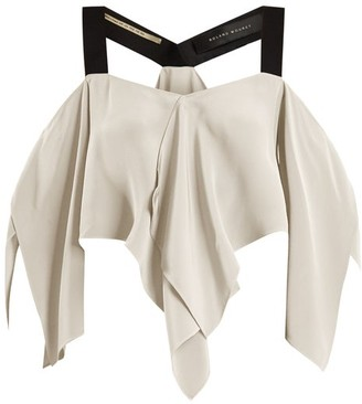 Roland Mouret Bach Off-the-shoulder Draped Silk Crepe Top - Womens - White