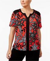 Alfred Dunner Plus Size Saratoga Collection Floral-Print Piping Top
